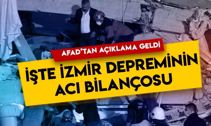 AFAD'tan açıklama geldi: İşte İzmir depreminin acı bilançosu