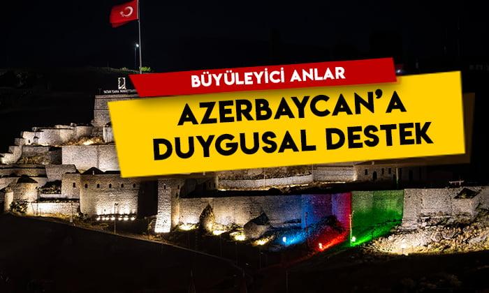 Kars Kalesi'nde büyüleyici anlar! Azerbaycan'a duygusal destek