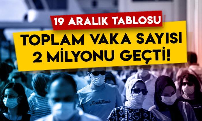 19 Aralık koronavirüs tablosu: Türkiye'de toplam vaka sayısı 2 milyonu geçti!