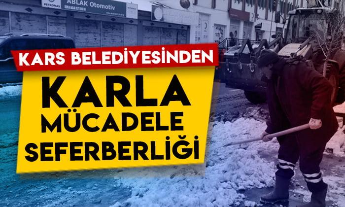Kars Belediyesinden karla mücadele seferberliği