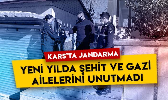 Kars'ta Jandarma yeni yılda şehit ve gazi ailelerini unutmadı
