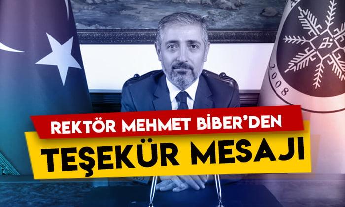 Ardahan Üniversitesi Rektörü Mehmet Biber'den teşekkür mesajı