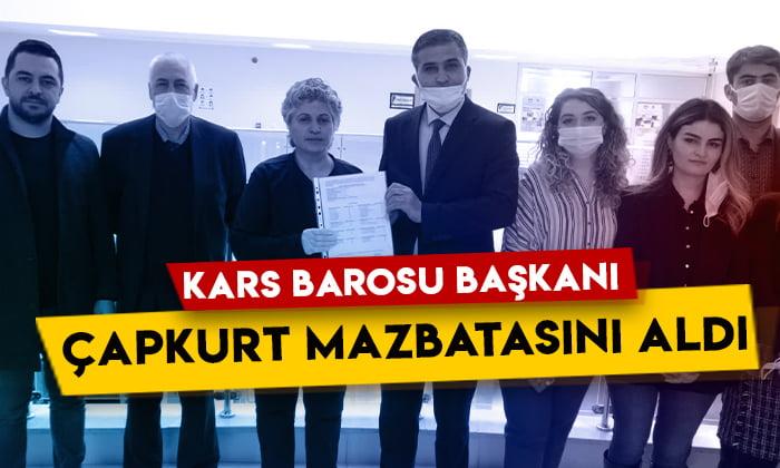 Kars Barosu Başkanı Fettah Çapkurt mazbatasını aldı