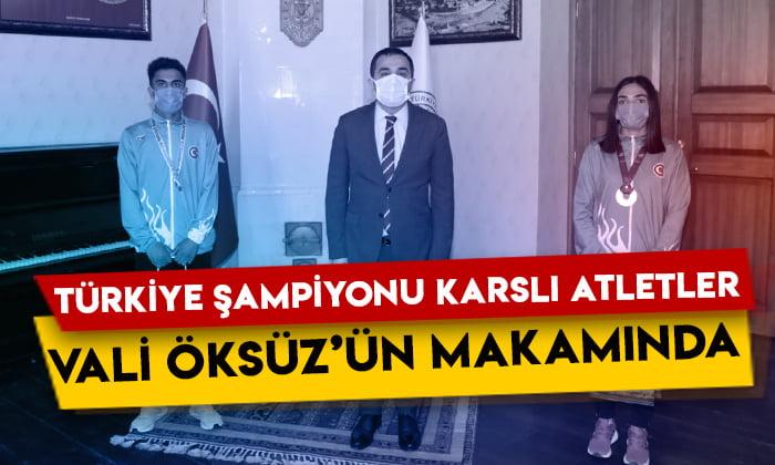 Kars Valisi Türker Öksüz, Türkiye şampiyonu Karslı atletleri tebrik etti