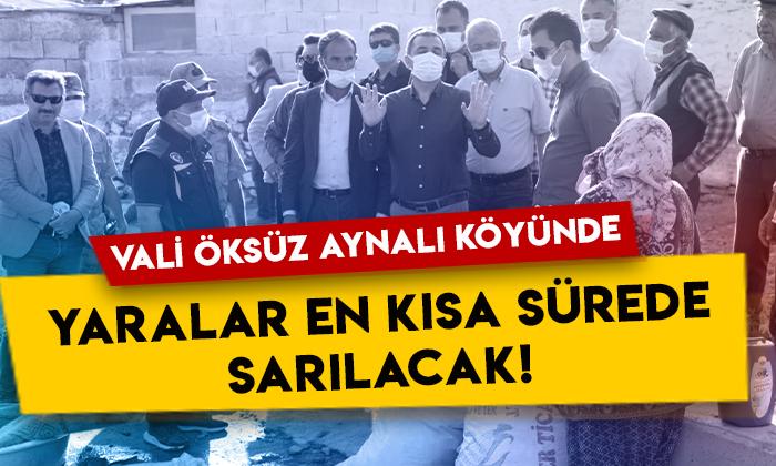 Kars Valisi Türker Öksüz selden etkilenen Susuz Aynalı köyünde!