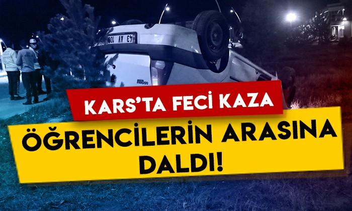 Kars'ta feci kaza: Kontrolden çıkıp öğrencilerin arasına daldı!